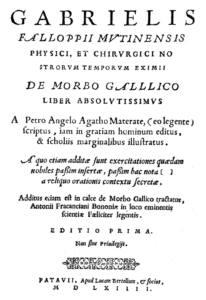 Primera página del tratado de morbo gallico de Fallopio.