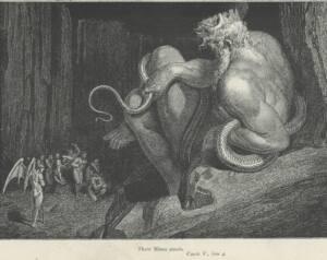 Ilustración en blanco y negro donde se ve Al Rey Minos sentado en una piedra y rodeado de serpientes. A sus pies unos seres con alas alos que está juzgando.