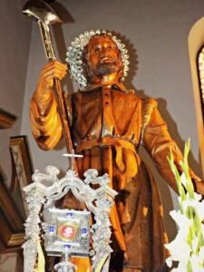 Imagen en madera de San Isidro Labrador, Patrón de la Ciudad de El Ejido (Almería)