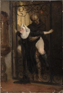 Imagen de un sacerdote tras la verja de una capilla, penetrando por detrás a una monja.capilla que est