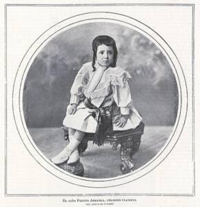 Cartel donde se muestra al niño Pepito Arriola sentado en una banqueta para piano.