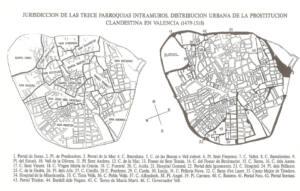 Mapa de la jurisdicción de las trece parroquias intramuros. Distribución urbana de la prostitución clandestina en Valencia (1479-1518)