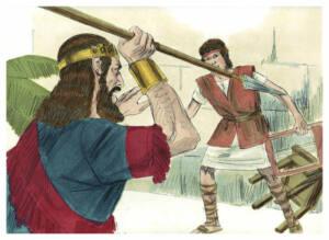 Dibujo que ilustra el momento en el que el Rey Saúl intenta matar a David clavándole una lanza.