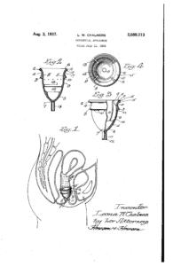 Dibujo de la patente de la copa menstrual de Leona W. Chalmers.