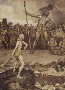Ilustración de David a punto de lanzar su honda contra Goliat.