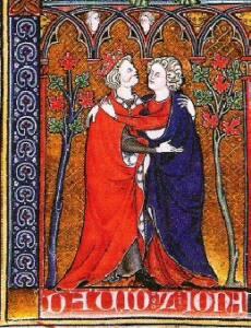 Ilustración de 1300 d.C. donde se muestra al rey David y Jonatán abrazándose
