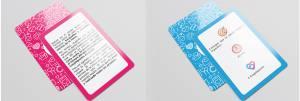 Ejemplo de una carta rosa y una azul de Coupletition