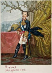 Lámina de Francisco de Asís vestido de uniforme y masturbándose delante de unos cuernos de ciervo. Texto de la lámina: El rey consorte primer pajillero de la corte.