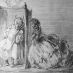 Dibujo de Bécquer donde se muestra a una mujer confesándose en un confesionario y dentro un hombre con sotana y cuernos.